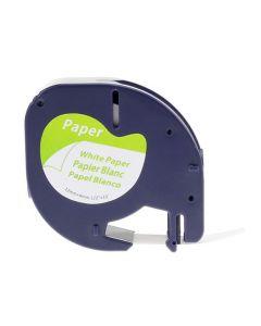 Tape LetraTAG Papper 12mm Svart på Vit