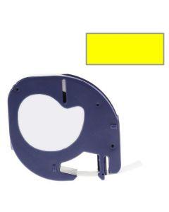 Tape LetraTAG Plast 12mm Svart på Gul