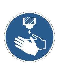 Påbudsdekal 'Desinficera händerna'