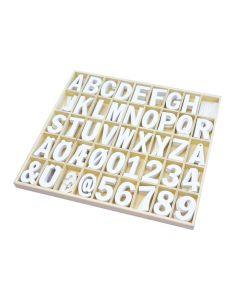 Träbokstäver och siffror, vita