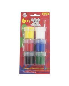 Temperafärg 6 färger med pensel