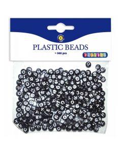 Plastpärlor ABC rund svart/vit 500/FP