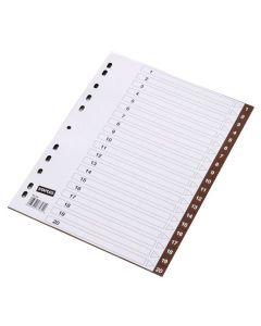 Plastregister STAPLES färgat 1-20 brun