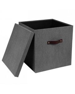 Förvaringsbox m.lock kartong stor grå