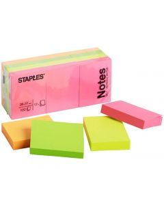 Notes STAPLES 38x51mm Neon 12/FP