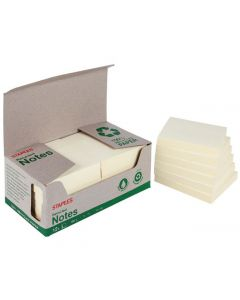 Notes STAPLES recy 76x76mm gul 12/FP