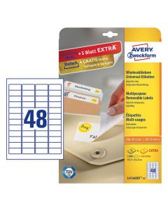 Etikett avtagbar 45,7x21,2mm 1200/FP