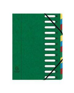 Sorteringsmapp EXACACOMPTA 12-flik grön