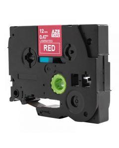 Tape 12mm TZe-435 Vit på Röd