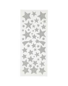 Glitterstickers silver stjärnor 110/fp