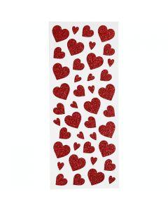 Glitterstickers röd hjärtan 84/fp