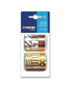 Washitape metallfärg 3mx15mm 6/fp