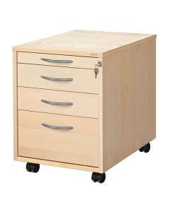 Skrivbordshurts 4 lådor björkfanér