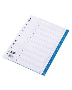 Plastregister STAPLES färgat 1-10 m.blå