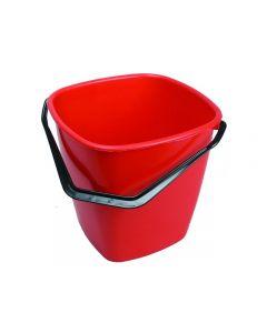 Hink fyrkantig röd 9,5 liter