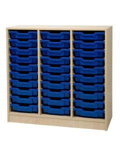 Trippel hylla blå backar