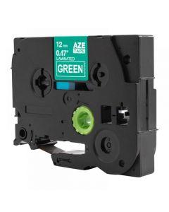 Tape 12mm TZe-735 Vit på Grön