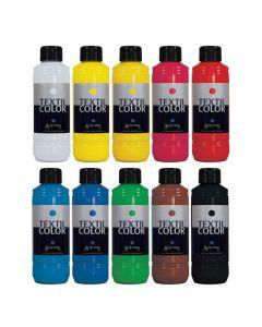 Textilfärg 250ml 10 färger 10/fp