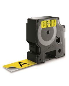 Tape D1 24mm Svart på Gul