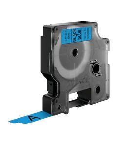 Tape D1 12mm Svart på Blå
