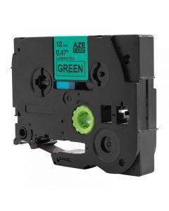 Tape 12mm TZe-731 Svart på Grön