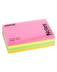Notes STAPLES kub 76x127mm neon