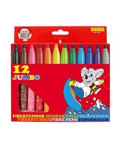 Fiberpenna SENSE jumbo 12 färger