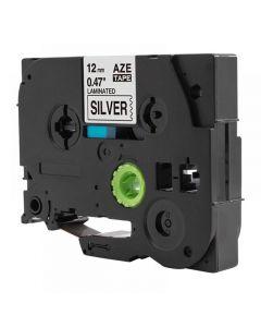 Tape 12mm TZe-931 Svart på Silver