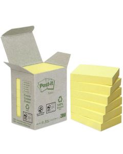 Notes POST-IT 100% recycl 38x51mm gul 6/FP