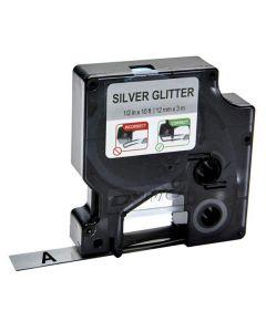 Tape D1 12mm Svart på Silver
