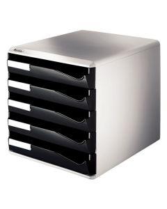 Blankettbox LEITZ 5 fack svart/grå