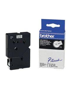 Tape BROTHER TC201 12mm svart på vit