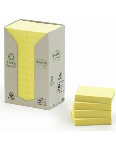 Notes POST-IT 100% recycl 38x51mm gul 24/FP