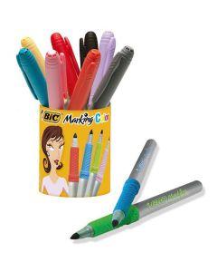 Märkpenna BIC i pennkopp 10 färger