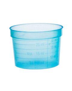 Medicinbägare bred blå middag 30ml 50/FP