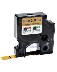 Tape D1 12mm Svart på Guld