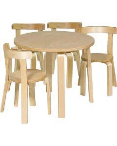 Lekvråmöbelset björk 1 bord 4 stolar