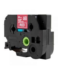 Tape 24mm TZe-455 Vit på Röd