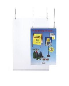 Frihängande plastficka 70x100 med hål