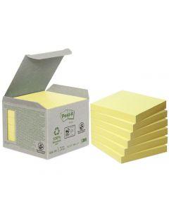 Notes POST-IT 100% recyc 76x76mm gul 6/FP