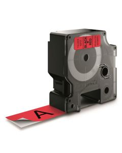Tape D1 24mm Svart på Röd