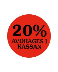 Etikett 20% avdrages i kassan 2000/RL