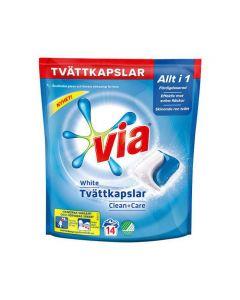 Tvättkapslar VIA White Clean+Care 14/FP