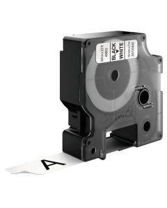 Tape D1 19mm Svart på Vit