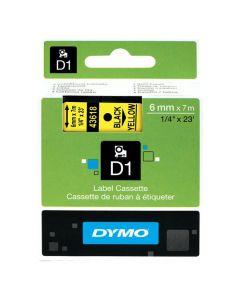 Tape DYMO D1 6mm Svart på Gul