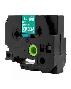 Tape 18mm TZe-745 Vit på Grön
