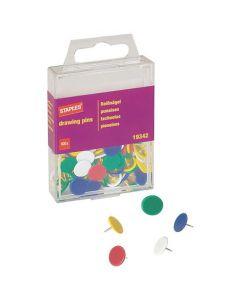 Häftstift STAPLES sorterade färger 100/FP