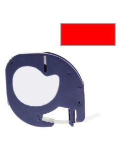 Tape LetraTAG Plast 12mm Svart på Röd