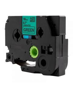 Tape 18mm TZe-741 Svart på Grön