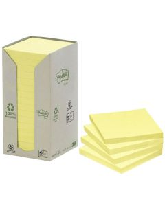 Notes POST-IT 100% recycl 76x76mm gul 16/FP